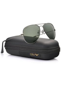 Luenx Unisex Aviator Sunglasses Mens Women 60mm with Case -