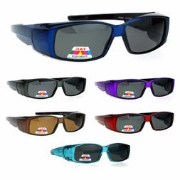 Unisex Polarized Rectangular 55mm Over the Glasses Fit Over