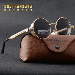 Unisex Vintage Polarized Steampunk Sunglasses Fashion Round