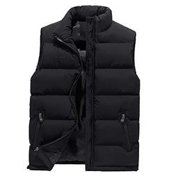 YOcheerful Men Vest Autumn Winter Solid Waistcoat Vest Outer