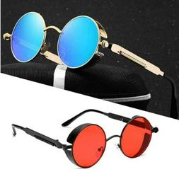 Men Women Vintage Polarized Sunglasses Steampunk Round Retro