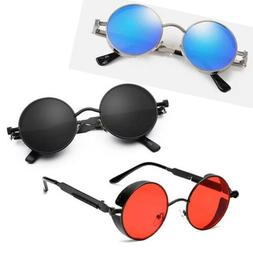 Vintage Men Polarized Steampunk Sunglasses Women Round Metal