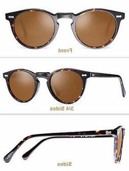 Carfia Vintage Polarized Sunglasses for Men, 100% UV400, Bro