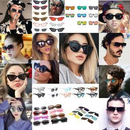 Vintage Women Men Small Oval Cat Eye Sunglasses Outdoor Spor