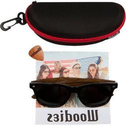 WOODIES Wayfarer Walnut Wood Sunglasses with Black Polarized