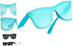 WearMe Pro - Polarized Full Mirror Flat Blue Frame/ Aqua Blu