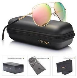 Womens Sunglasses Aviator Polarized Pink Mirror Free 2-DAY D