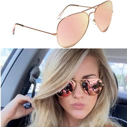 XL Oversized Rose Gold Women Sunglasses Aviator Mirrored Met