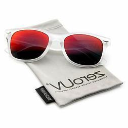 ZV-8025q Retro Matte Black Horned Rim Flash Colored Lens Sun